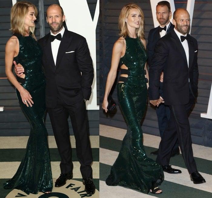 Jason Statham wrapped his arm around his girlfriend Rosie Huntington-Whiteley