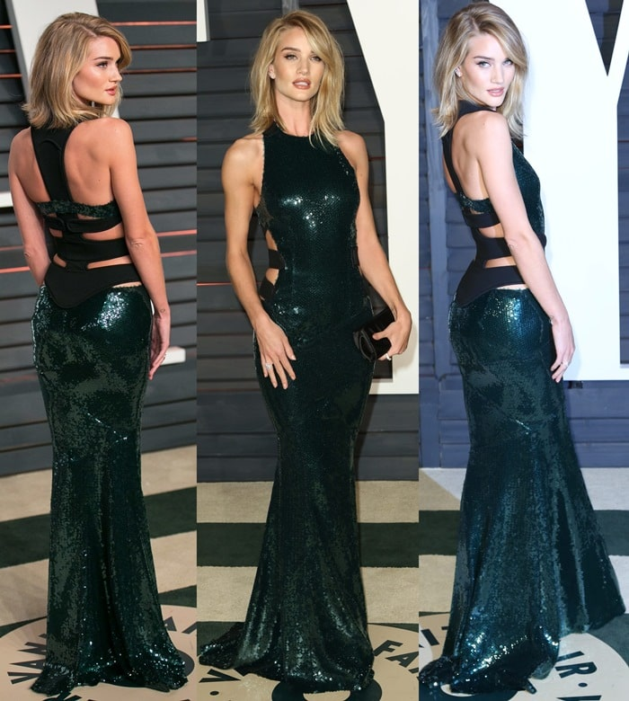 Rosie Huntington-Whiteley's green sequined dress from Alexandre Vauthier
