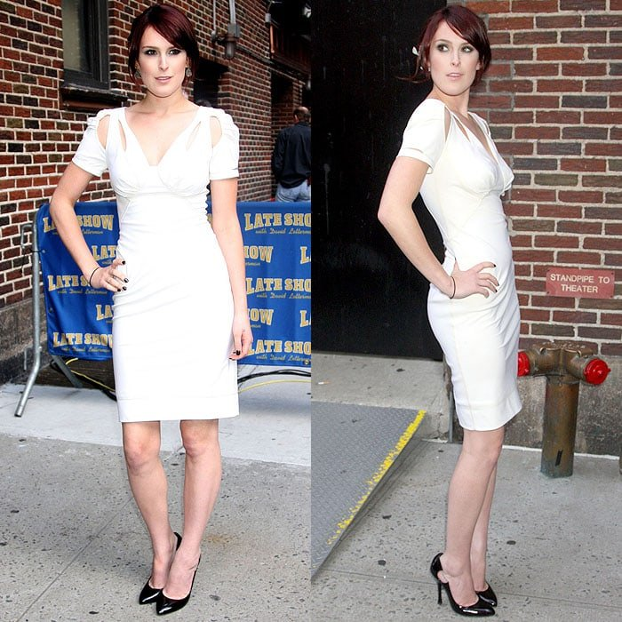 """Rumer Willis arriving for the """"Late Show with David Letterman"""" at the Ed Sullivan Theater in New York City on August 31, 2009"""