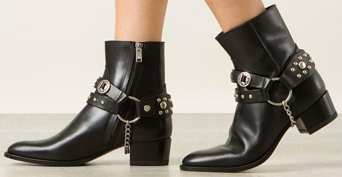 Saint Laurent Wyatt Leather Ankle Boots