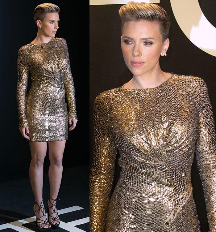 Scarlett Johansson's gold fitted sequined mini dress