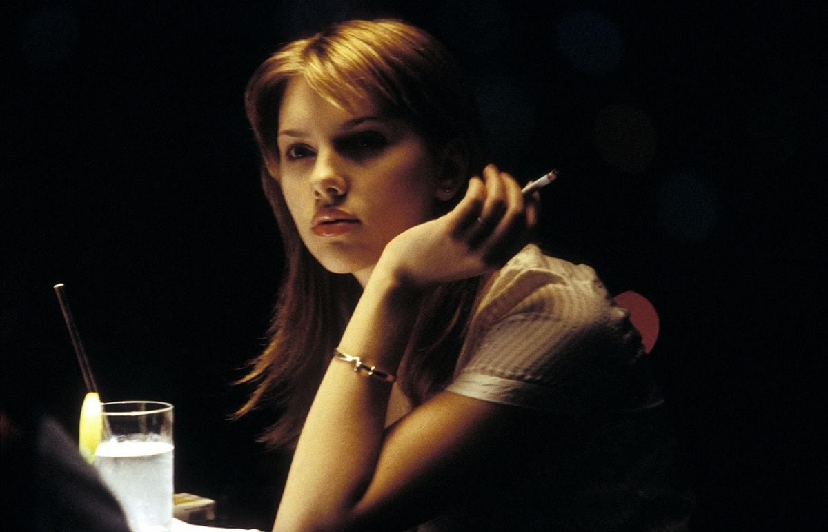 Scarlett Johansson as recent college graduate Charlotte in the 2003 romantic comedy-drama film Lost in Translation