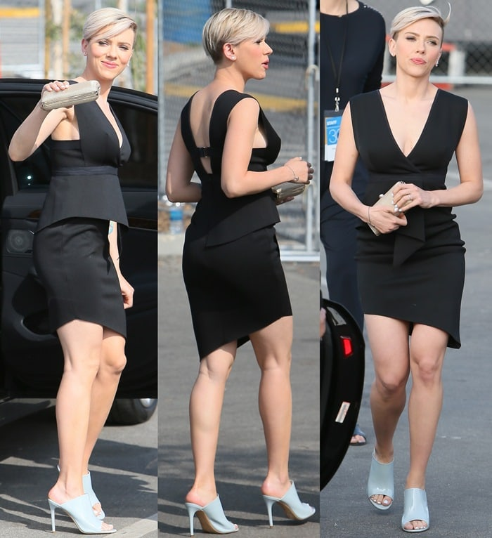 Scarlett Johansson paraded her hot legs in a sexy black dress