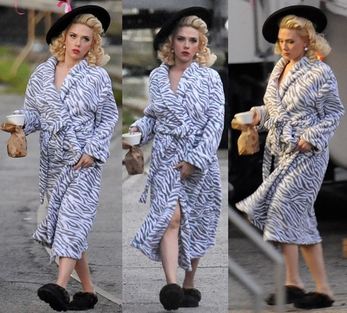 Blonde bombshell Scarlett Johansson wears a zebra print bathrobe on the set of 'Hail, Caesar!' in downtown Los Angeles on January 16, 2015