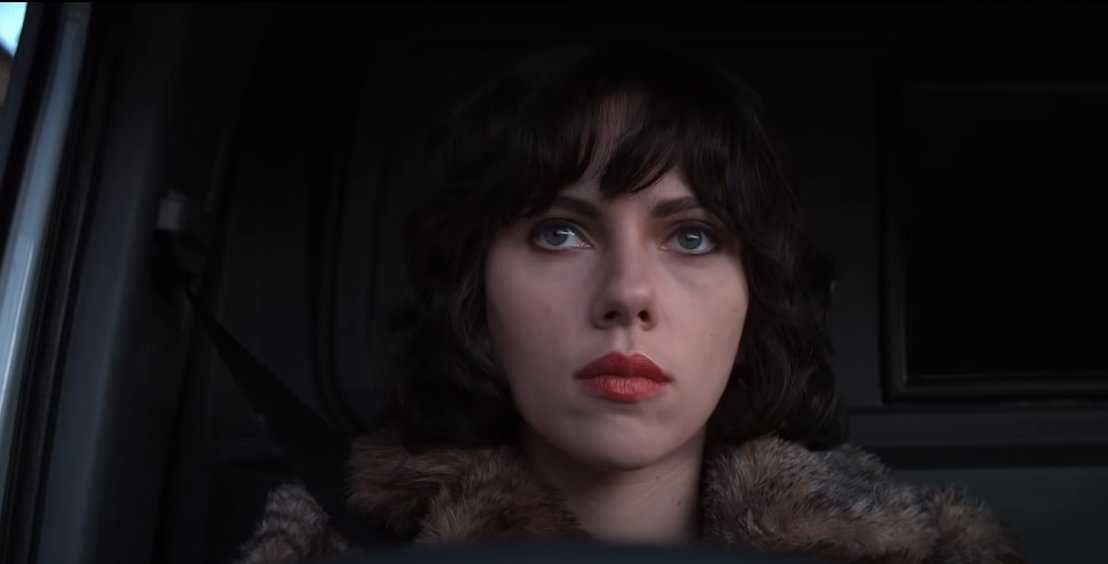 Scarlett Johansson as an otherworldly woman who preys on men in Scotland in the 2013 science fiction film Under the Skin