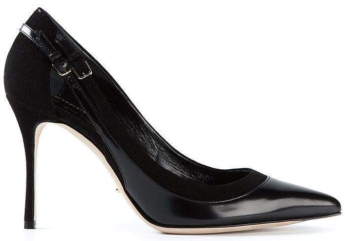 Sergio Rossi side buckled suede and leather pumps