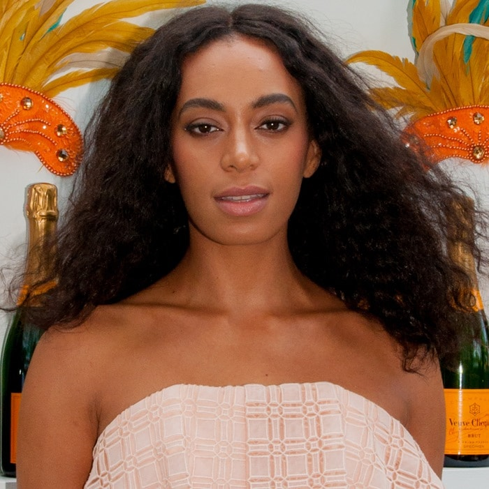 Solange Knowles at The Thompson Hotel for a Clicquot Carnaval poolside brunch on Saturday afternoon in Miami Beach on February 7, 2015