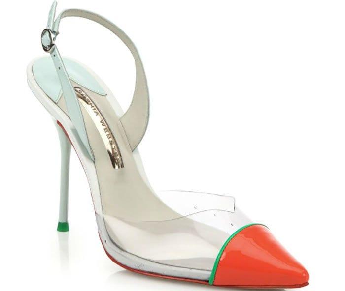 "Sophia Webster ""Daria"" Patent Leather & Translucent Slingback Pumps"