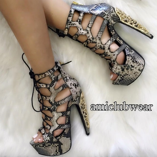 a1c6cec856f8 5. Tan Snake Platform Plated High Heels in Faux Leather