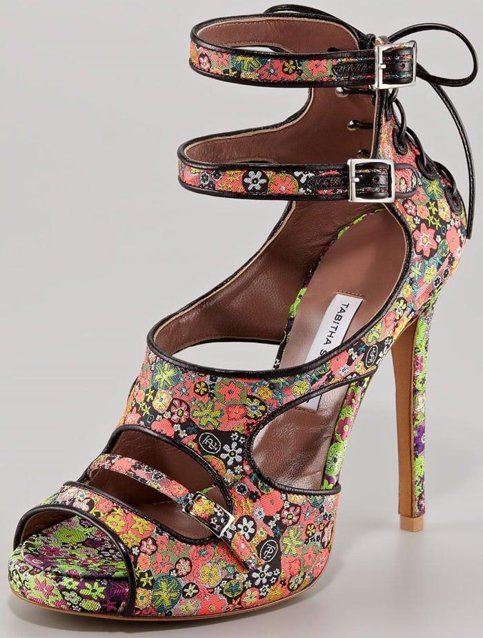Tabitha Simmons Multicolor 'Bailey' Dizzy Floral Print Bootie Sandals'