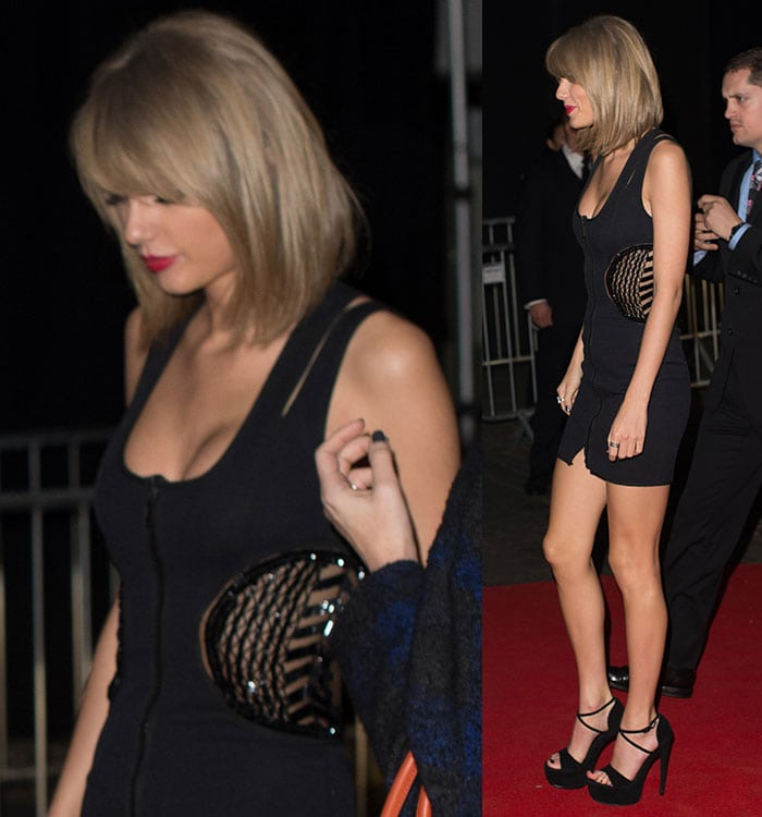 Taylor Swift heading to the Universal Music Group afterparty at the Soho House pop-up in London, England, on February 25, 2015