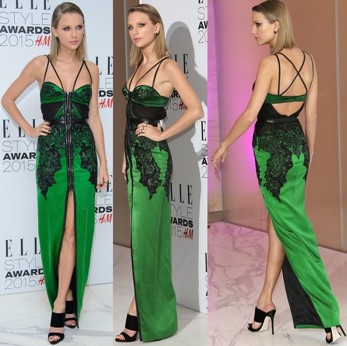 Taylor Swift flashed her legs in a sexy dress by Julien Macdonald