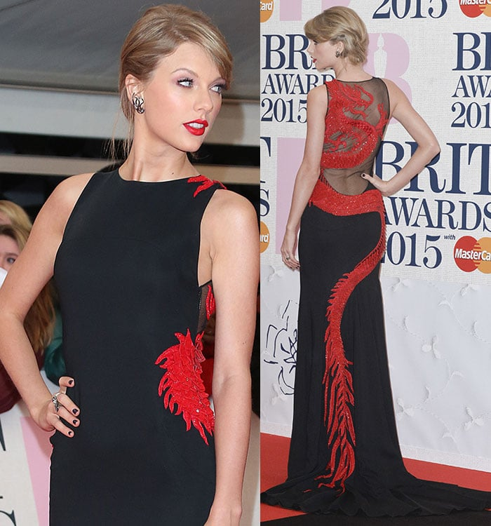 Taylor Swift styled her short blonde hair with a side fringe at the 2015 BRIT Awards