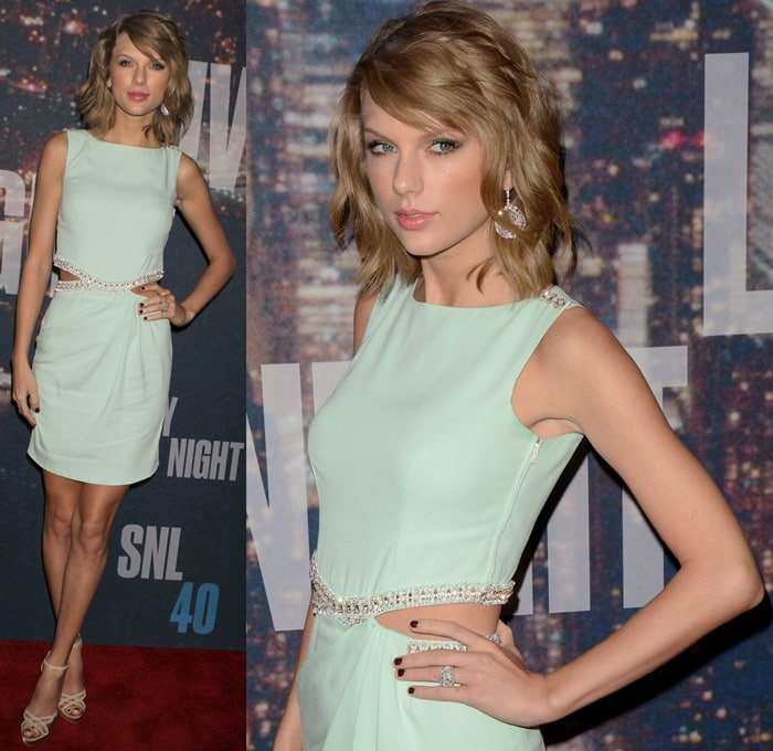 Taylor Swift's sexy legs in an unflattering Azzaro dress with cutouts