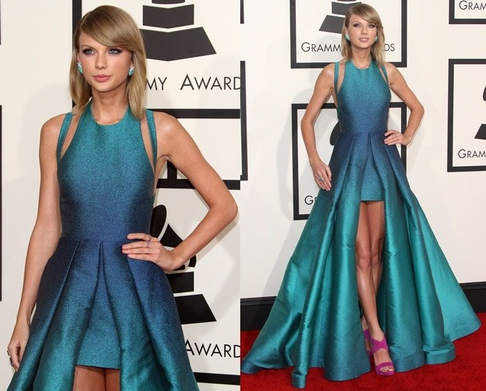 Taylor Swift on the red carpet at the 2015 Grammy Awards