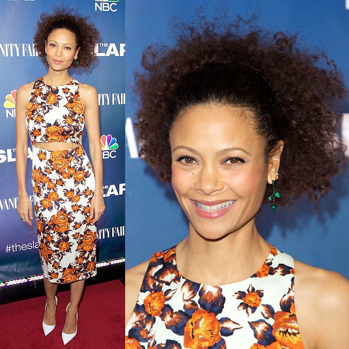 """Thandie Newton sporting a springtime orange floral print at the premiere of """"The Slap"""""""