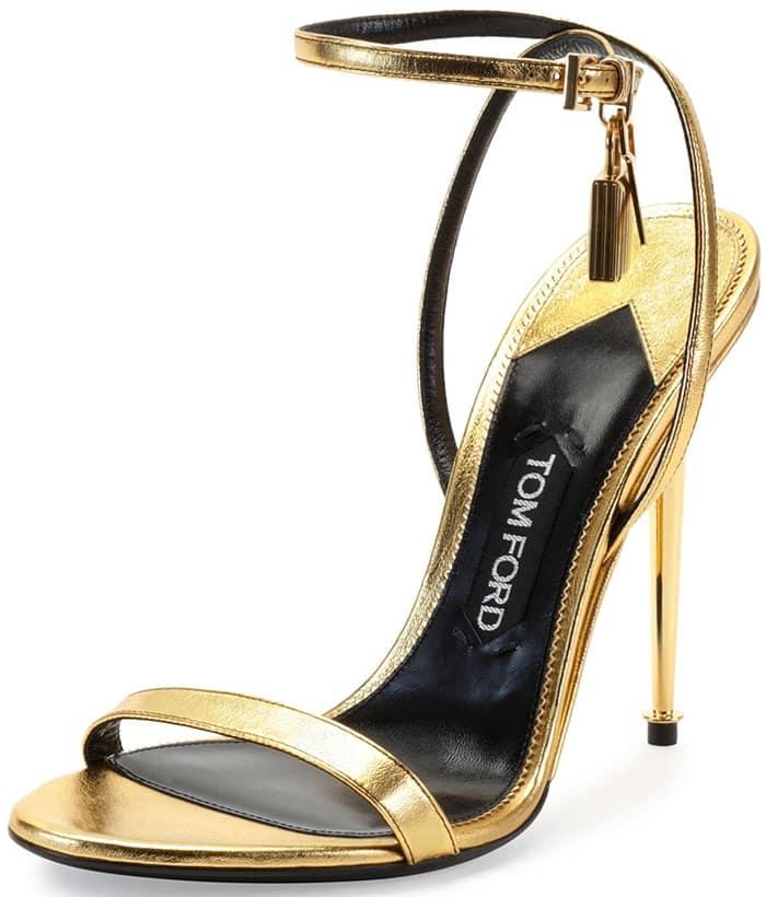 Tom Ford Metallic Ankle-Lock Sandal