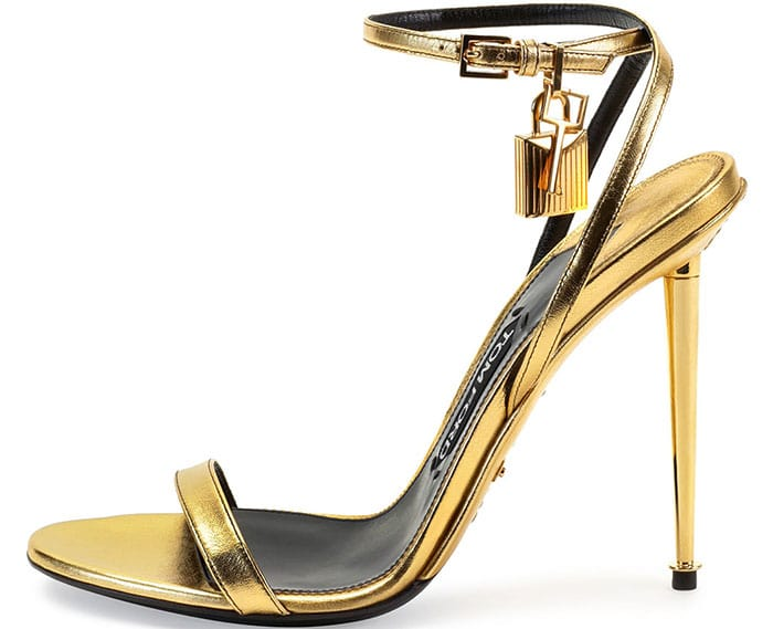 Tom Ford Metallic Gold Ankle-Lock Sandals