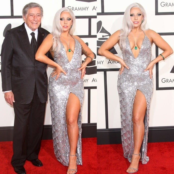 Lady Gaga and Tony Bennett on the red carpet at the 2015 Grammy Awards held at the Staples Center in Los Angeles on February 8, 2015