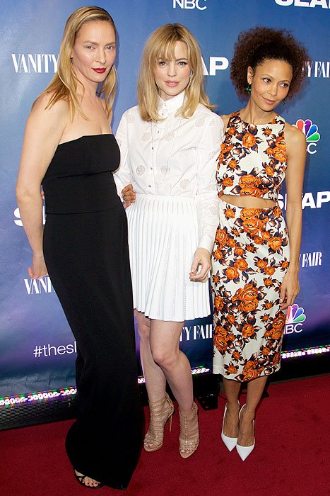 """Uma Thurman, Melissa George, and Thandie Newton at the premiere of their new NBC miniseries, """"The Slap"""""""