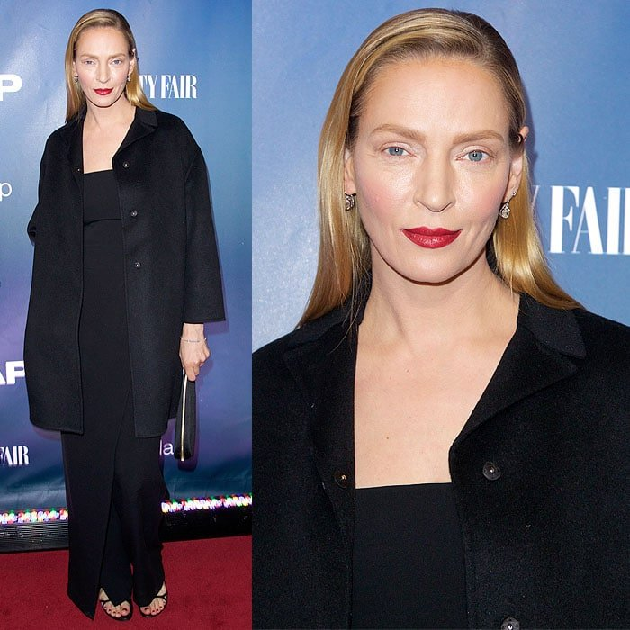 """Uma Thurman at the premiere of """"The Slap"""" held at The New Museum"""