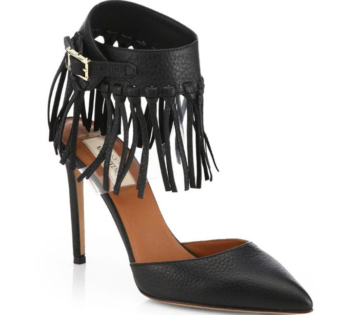 "Valentino ""C-Rockee"" Leather Fringe Ankle-Strap Pumps"