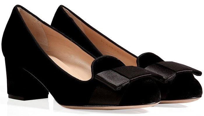 Valentino Velvet Block-Heel Satin-Bow Loafers