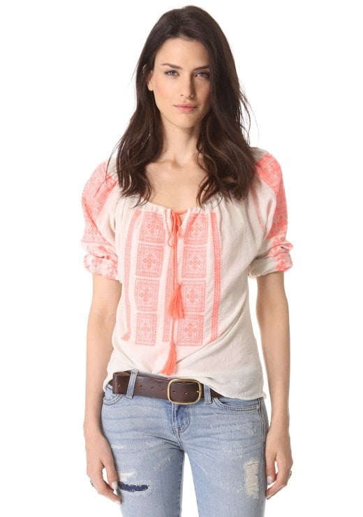 Velvet Embroidered Peasant Top