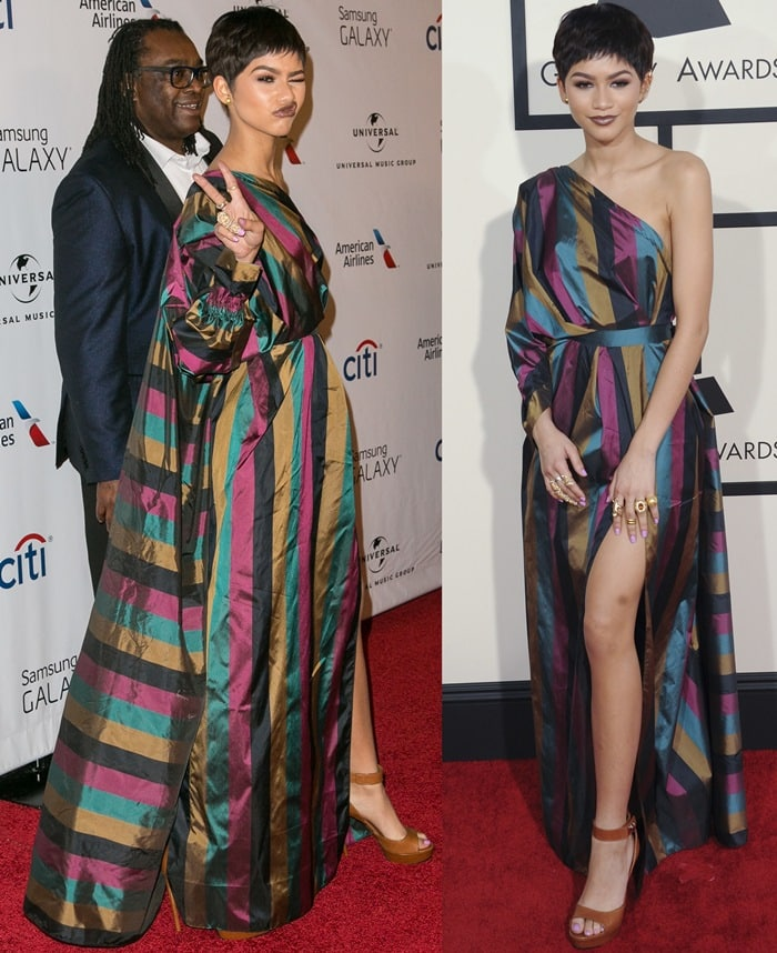 Zendaya and her father Kazembe Ajamu Coleman on the red carpet at the 2015 Grammy Awards