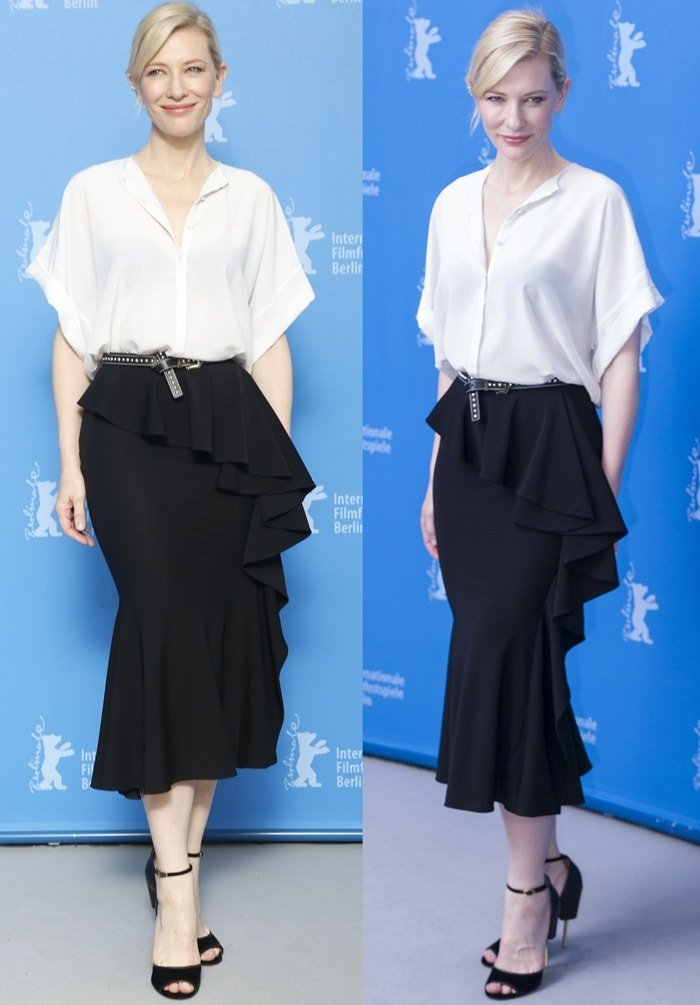 Cate Blanchett's white blouse and ruffled skirt from Givenchy