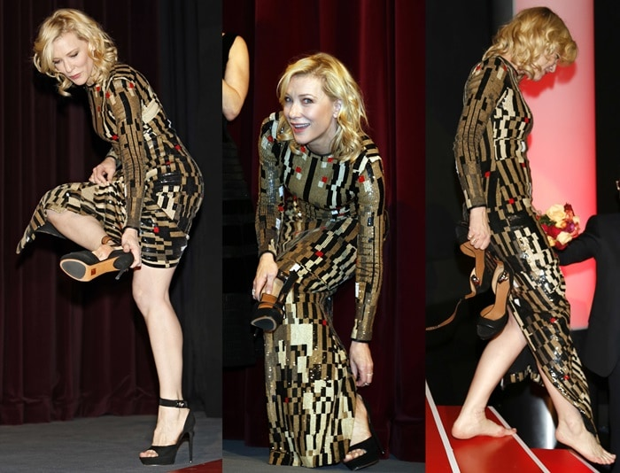Cate Blanchett slipping off her Givenchy sandals to go barefoot at the Cinderella premiere