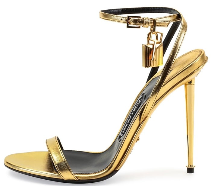 tom ford ankle lock sandals gold