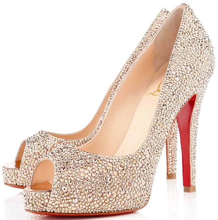 Gold Christian Louboutin Very Riche 120mm Crystal Strass Pumps