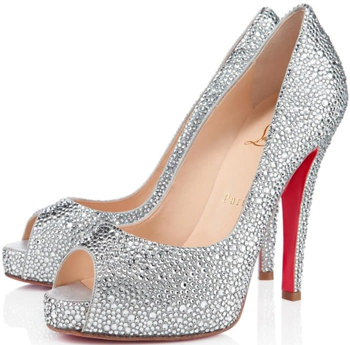 Silver Christian Louboutin Very Riche 120mm Crystal Strass Pumps