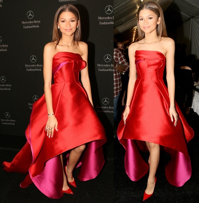Zendaya in a gorgeous red and pink Rubin Singer gown and red patent leather pumps