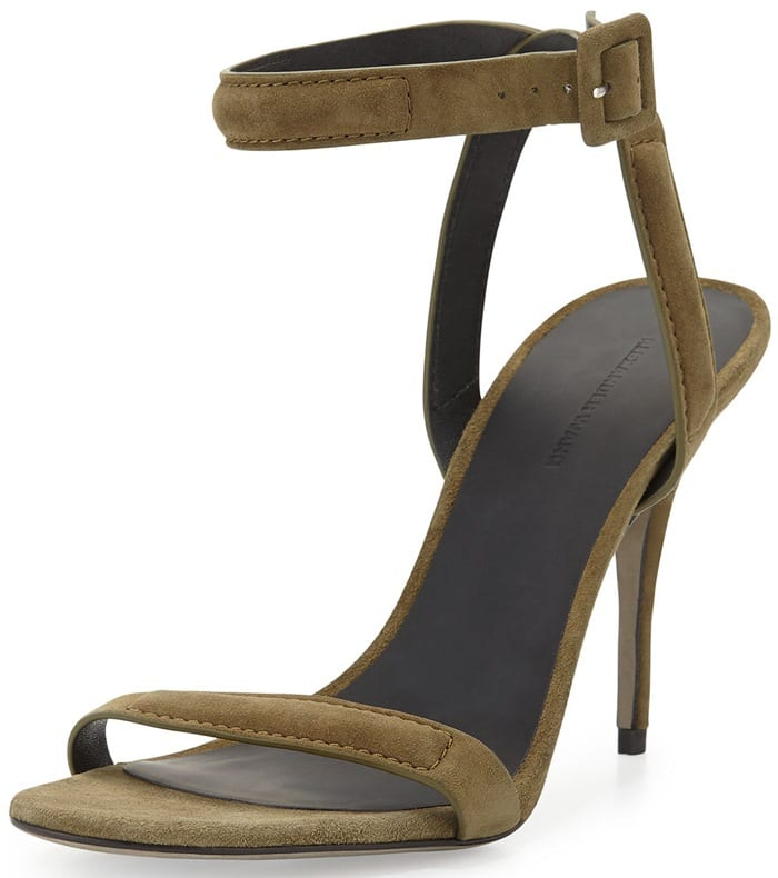 Alexander Wang Antonia Suede Naked Sandal in Camouflage Olive