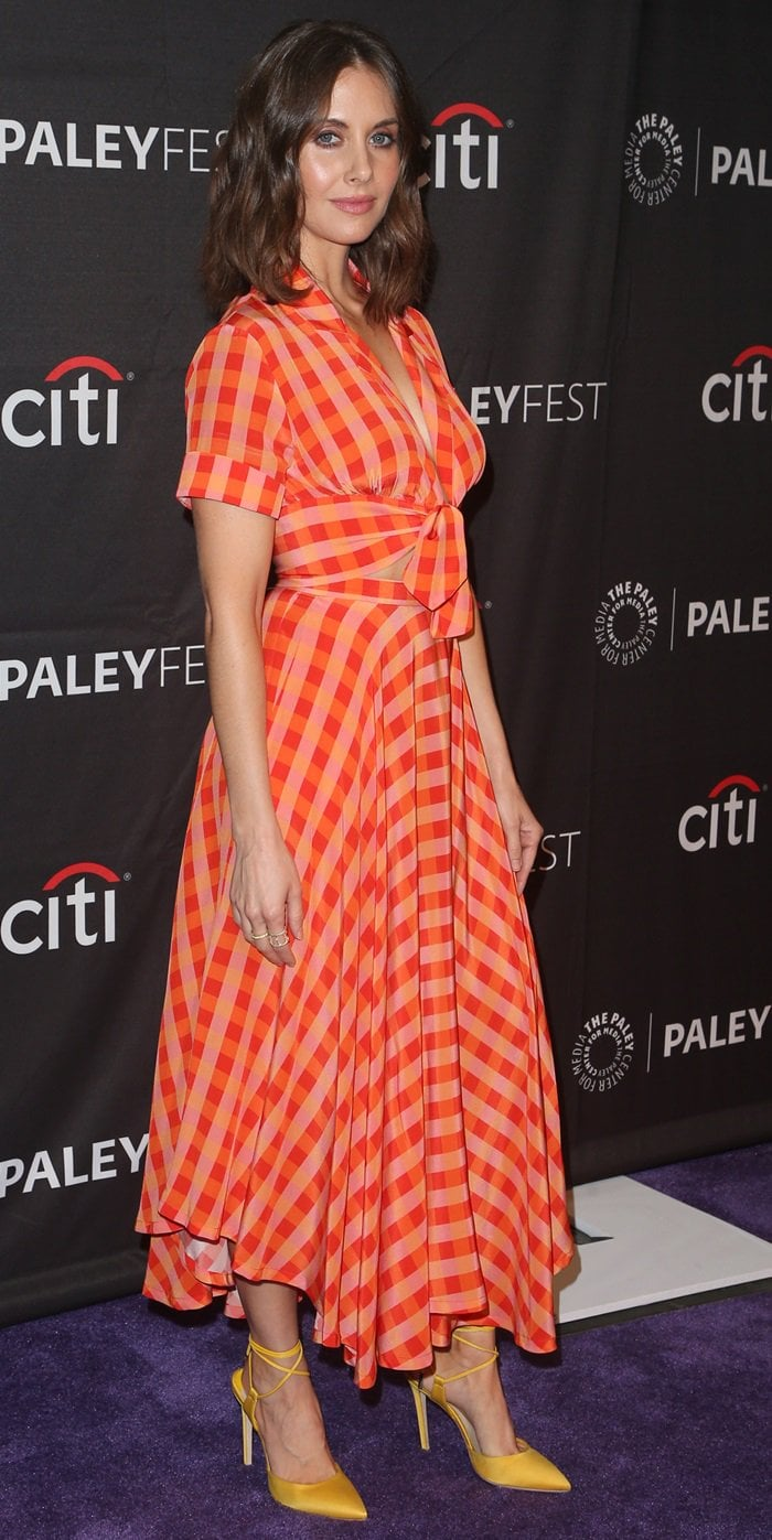 Alison Brie's gingham print LHD look at the Paley Center's PaleyFest Fall TV Preview event celebrating Netflix's BoJack Horseman