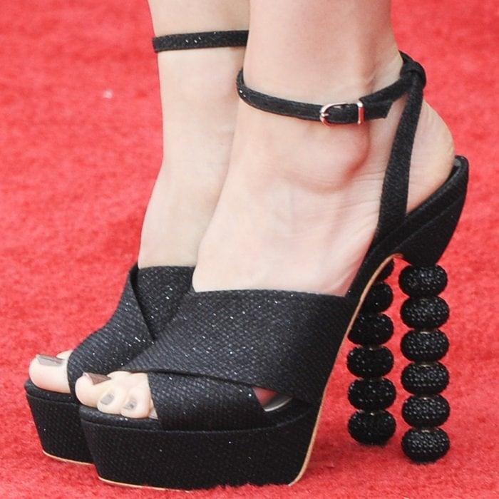 Alison Brie's hot feet in Sophia Webster Coco Jumbo crystal platform heels