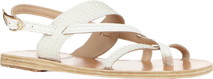 "Ancient Greek Sandals Snakeskin ""Alethea"" Crossover-Strap Flat Sandals"