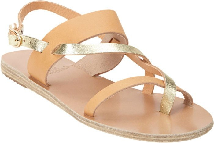 "Ancient Greek Sandals ""Alethea"" Crossover-Strap Flat Sandals in Tan/Gold"