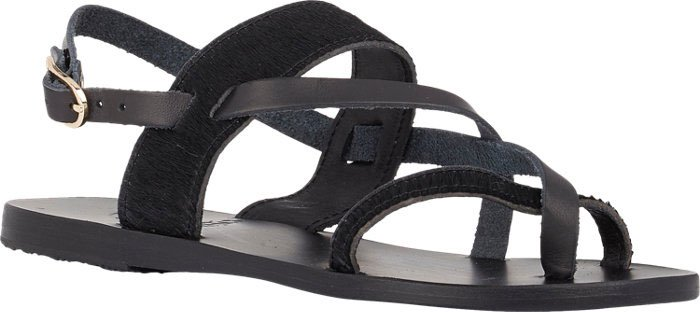 "Ancient Greek Sandals ""Alethea"" Crossover-Strap Flat Sandals in Calfhair and Leather"