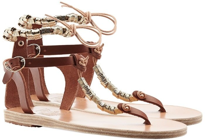 Ancient Greek Sandals Brown Chrysso Beaded Flat Leather Sandals