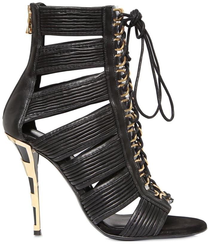 "Balmain 110 mm ""Hopi"" Leather Cage Sandals"