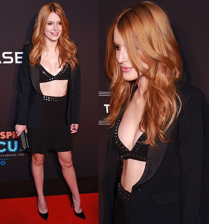 Bella-Thorne-shows-cleavage-and-stomach-in-studded-bra