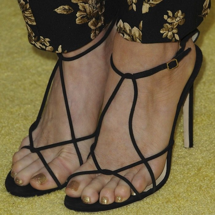 Brittany Snow's pedicured toes in Jimmy Choo shoes