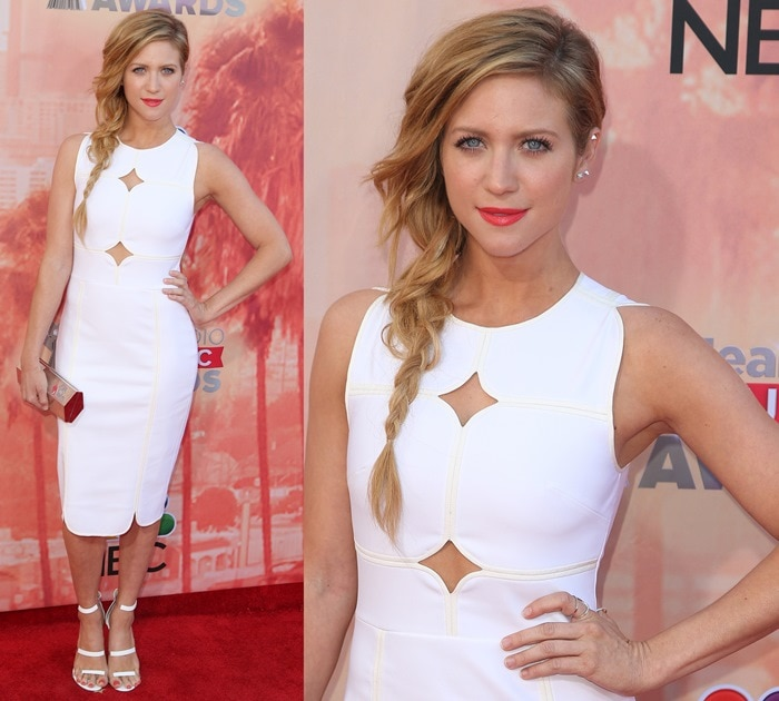 Brittany Snow flashed her legs in a cut-out detail fitted dress from Yigal Azrouël
