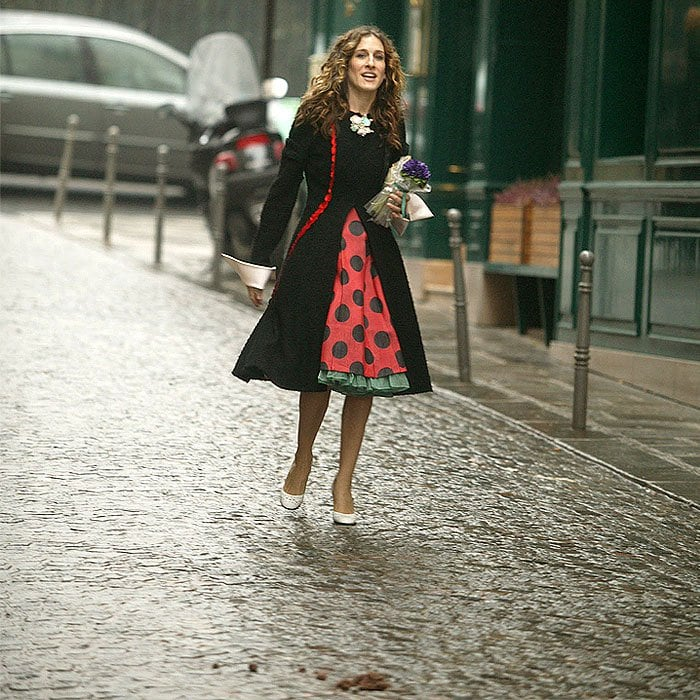 Sarah Jessica Parker as Carrie Bradshaw in the scene where she's about to walk in dog poo in Sex and the City's final episode