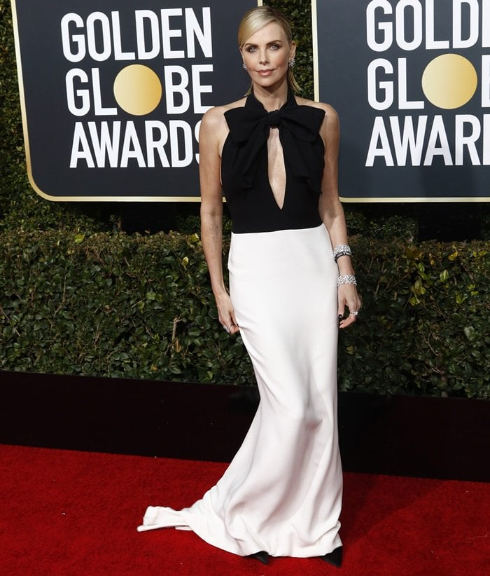 Charlize Theron looked elegant in a monochromatic Christian Dior Haute Couture gown at the 2019 Golden Globe Awards at the Beverly Hilton Hotel in Beverly Hills, California, on January 6, 2019
