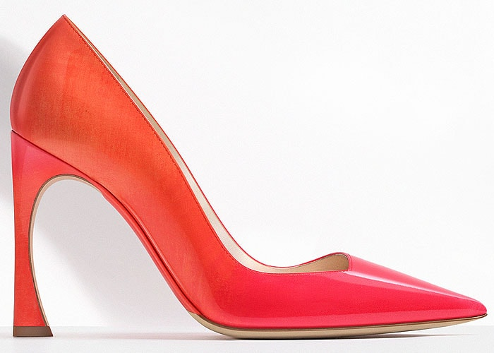 Christian Dior graduated orange patent calfskin point toe pumps