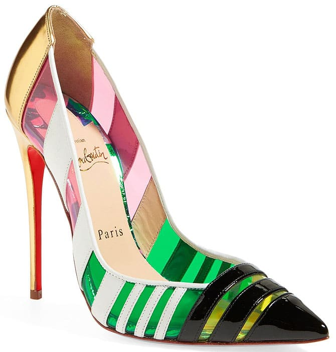 Christian Louboutin Bandy Pumps in Metallic Leather, Patent, and PVC